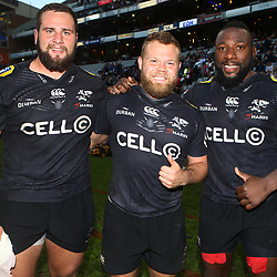 DURBAN, SOUTH AFRICA - MAY 19: Thomas du Toit with Akker van der Merwe and Tendai Beast Mtawarira of the Cell C Sharks during the Super Rugby match between Cell C Sharks and Chiefs at Jonsson Kings Park on May 19, 2018 in Durban, South Africa. (Photo by Steve Haag/Gallo Images)
