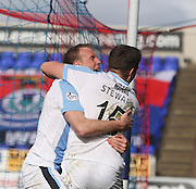 David Clarkson celebrates with Greg Stewart after firing Dundee ahead - Inverness v Dundee  - SPFL Premiership at the Caledonian Stadium<br /> <br />  - &copy; David Young - www.davidyoungphoto.co.uk - email: davidyoungphoto@gmail.com