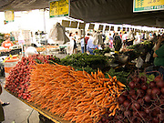 organic vegetables displayed at a green market