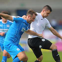 TELFORD COPYRIGHT MIKE SHERIDAN Aaron Williams of Telford and Danny Livesey during the National League North fixture between AFC Telford United and Chester FC at the New Bucks Head on Saturday, September 14, 2019<br /> <br /> Picture credit: Mike Sheridan<br /> <br /> MS201920-018