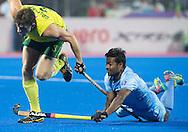 BHUBANESWAR (India) -  Hero Champions Trophy hockey men. Match for bronze. Australia vs India. Danish Mujtaba of India and Simon Orchard of Australia. Photo Koen Suyk
