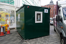 © Licensed to London News Pictures. 02/03/2020. London, UK. A National Health Service 111 Coronavirus pod is positioned at the UCH hospital in London. The pod will allow doctors to examine patients who may be feeling symptoms of the virus. Photo credit: Ray Tang/LNP