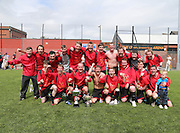 Dundee Thistle celebrate with the cup after beating DUMS in the Dundee Saturday Morning Football League Ross Kirk Memorial Cup Final at GA Arena<br /> <br />  - &copy; David Young - www.davidyoungphoto.co.uk - email: davidyoungphoto@gmail.com