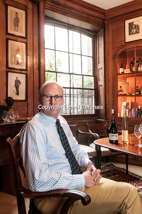 Lorenz Moser, Changyu Wines photographed in Berry Bros & Rudd shop in St James's street, London.