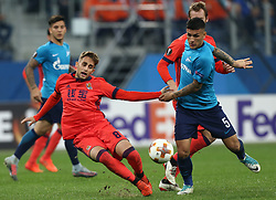 September 28, 2017 - Saint Petersburg, Russia - Adnan Januzaj of FC Real Sociedad (L) and Leandro Paredes of FC Zenit Saint Petersburg vie for the ball during the UEFA Europa League Group L football match between FC Zenit Saint Petersburg and FC Real Sociedad at Saint Petersburg Stadium on September 28, 2017 in St.Petersburg, Russia. (Credit Image: © Igor Russak/NurPhoto via ZUMA Press)