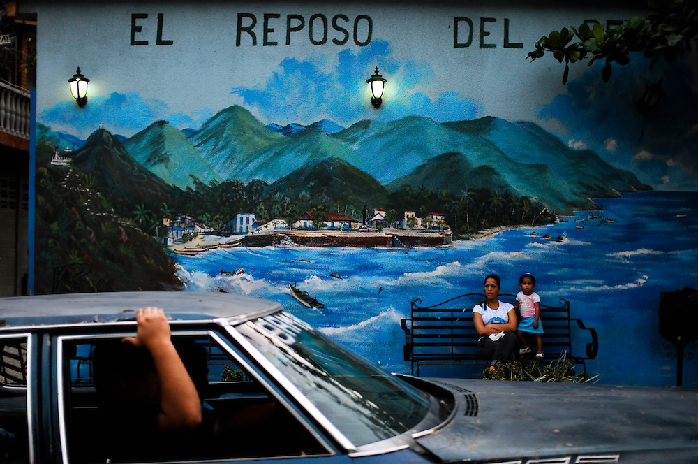 Street scene in Puerto Colombia, Venezuela, a small coastal town set in the tropical forest of the Henri Pittier National Park on March 26, 2009. The area is famed for producing high-quality cacao beans, used to make fine chocolates.