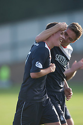 Falkirk's scorer Kris Faulds with Falkirk's Luke Leahy at the end.<br /> Raith Rovers 1 v 1 Falkirk, Scottish Championship 28/9/2013.<br /> &copy;Michael Schofield.