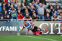 Olly Woodburn of Bath Rugby scores a try in the corner - Photo mandatory by-line: Patrick Khachfe/JMP - Mobile: 07966 386802 01/11/2014 - SPORT - RUGBY UNION - Bath - The Recreation Ground - Bath Rugby v London Welsh - LV= Cup