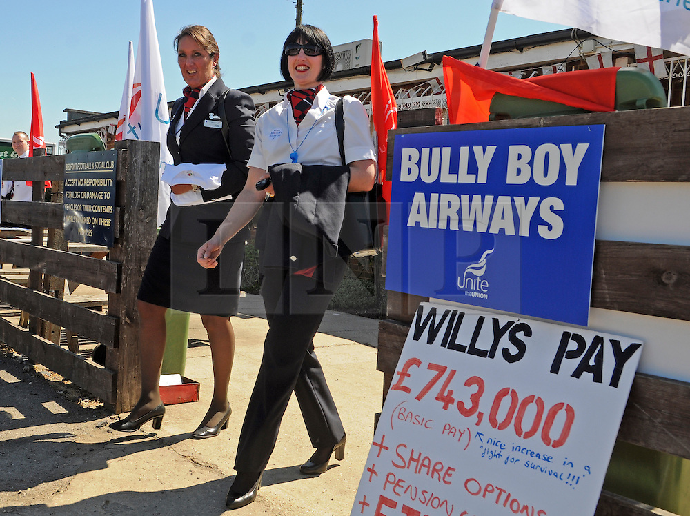© under license to London News Pictures. 21/01/2011. FILE PICTURE . British Airways cabin crew at strike headquarters in Benson during strike action in 2010. The result of the latest strike ballot of BA cabin crew is to be announced, on the same day as the company completes its merger with Spanish carrier Iberia. Photo credit should read: Stephen Simpson/LNP