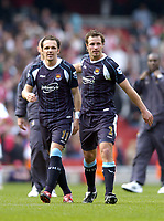 Photo: Olly Greenwood.<br />Arsenal v West Ham United. The Barclays Premiership. 07/04/2007. West Ham's Matthew Etherington and Lucas Neil celebrate winning at the end of the game