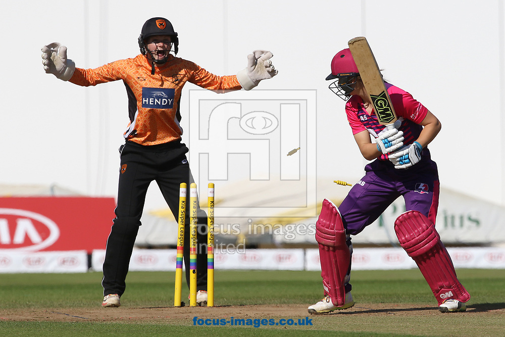 Amy Jones of Loughborough Lightning is bowled by Hayley Matthews of Southern Vipers during the Kia Super League match at the County Ground, Derby, Derby<br /> Picture by Robert Smith/Focus Images Ltd 07837 882029<br /> 15/08/2017