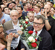 Vigil for the people murdered in the Pulse Club shooting in Orlando Florida by Omar Mateen<br /> in Old Compton Street, London, Great Britain <br /> 13th June 2016 <br /> <br /> Tom Watson <br /> <br /> Jeremy Corbyn <br /> Leader of the labour Party <br /> <br /> <br /> Photograph by Elliott Franks <br /> Image licensed to Elliott Franks Photography Services