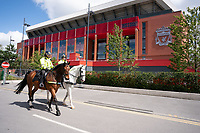 Football - 2019 / 2020 Premier League - Liverpool vs Aston Villa<br /> <br />  Mounted police await the team buses , at Anfield.<br /> <br /> COLORSPORT/TERRY DONNELLY