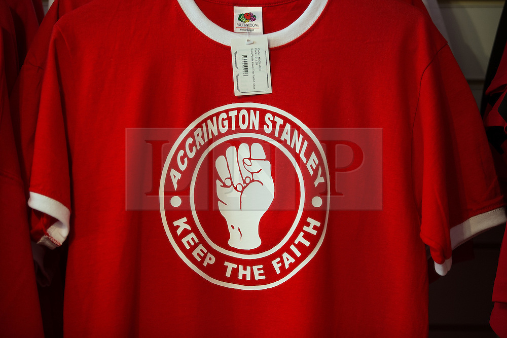 "© Licensed to London News Pictures . 18/05/2016 . Accrington , UK . Accrington Stanley "" Keep the faith "" shirts in the club shop . Accrington Stanley take on AFC Wimbledon at the Wham Stadium , in the 2nd leg of their League Two tie , the result from which will decide which team goes on to the final at Wembley . Photo credit : Joel Goodman/LNP"