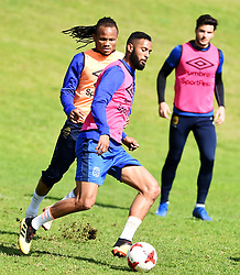 Cape Town-180823- Cape Town City player Taariq Fielies challenged by Edmilson Dove at training preparing for their up comingMTN 8 semi-final against Sundowns at Cape Town Stadum.Photographer :Phando Jikelo/African News Agency/ANA