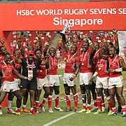 Kenya's 7's rugby team is jubilant after defeating Fiji 30-7 for the championship Cup, HSBC Singapore 7's, day 2, Singapore National Stadium, Singapore.  Photo by Barry Markowitz, 4/17/16