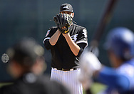 GLENDALE, ARIZONA - FEBRUARY 28:  Lucas Giolito #27 of the Chicago White Sox pitches against the Texas Rangers on February 28, 2018 at Camelback Ranch in Glendale Arizona.  (Photo by Ron Vesely)  Subject:   Lucas Giolito