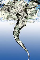 Money Draining down a water whirlpool or vortex