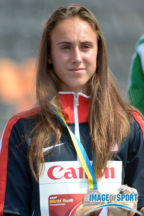 Jul 14, 2013; Donetsk, UKRAINE;Alexa Efraimson (USA) poses with the bronze medal after finishing third in the womens 1,500m in the 2013 IAAF World Youth Championships at Olimpiyskiy Stadium.