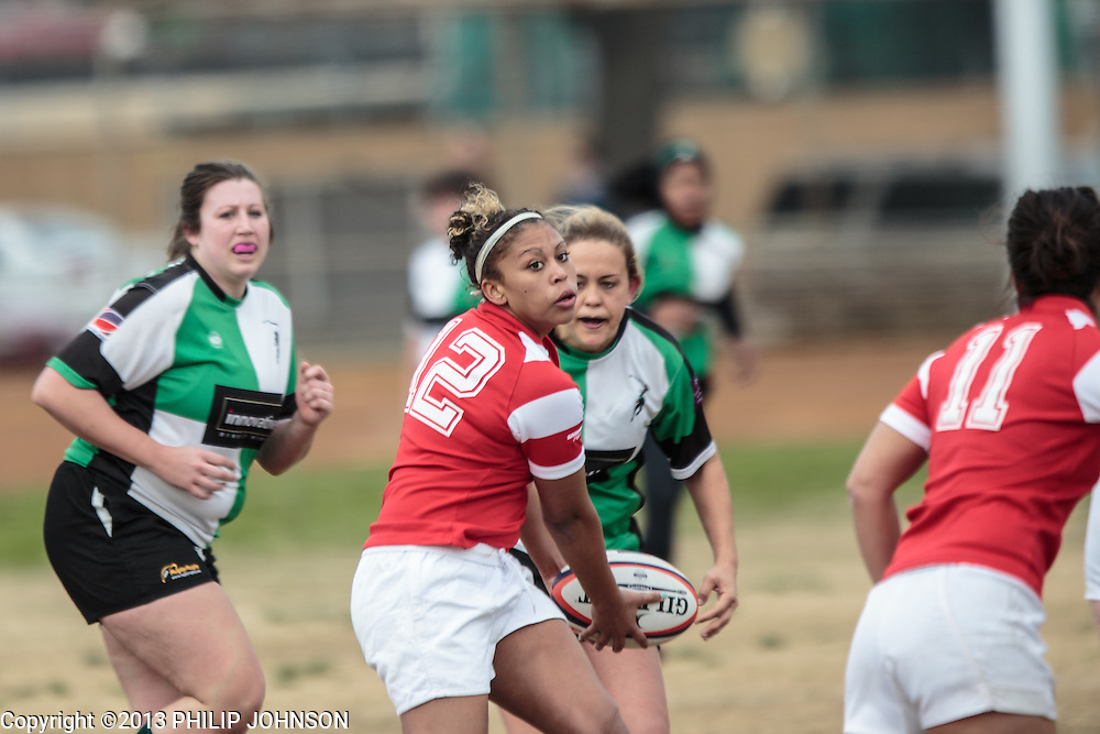 Womens rugby at Glencoe Park 2/23/2013. Dallas Quins vs OU womens rugby division II.