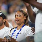 2019 US Open Tennis Tournament- Day Four.   Candi Gauff, mother of Coco Gauff of the United States, in the stands after her victory against Time Babos of Hungary in the Women's Singles Round Two match on Louis Armstrong Stadium at the 2019 US Open Tennis Tournament at the USTA Billie Jean King National Tennis Center on August 29th, 2019 in Flushing, Queens, New York City.  (Photo by Tim Clayton/Corbis via Getty Images)
