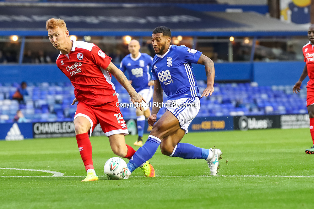 August 8th 2017, St Andrews, Birmingham, England; Carabao Cup First Round; Birmingham City versus Crawley Town; David Davis of Birmingham City FC goes into a tackle in the Crawley Town penalty area
