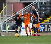 14th April 2018, Tannadice Park, Dundee, Scotland; Scottish Championship football, Dundee United versus Falkirk; Paul McMullan of Dundee United  and Tom Taiwo of Falkirk battle for the ball as Aaron Muirhead of Falkirk  watches