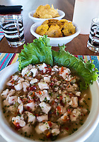 Cost Rica: Ceviche is a seafood dish popular in the coastal regions of Latin America and the Caribbean.<br /> <br /> The dish is typically made from fresh raw fish cured in citrus juices, such as lemon or lime, and spiced with aj&iacute; or chili peppers.