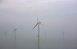 UK ENGLAND NORFOLK SHERINGHAM SHOAL 25SEP13 - General view of wind turbines during a misty day at the Sheringham Shoal wind farm in the North Sea off the Norfolk coast, England.<br /> <br /> Operated by Scira, the wind farm consists of 88 Siemens 3.6 MW wind turbines (model SWT-3.6-107 costing &euro;450m ($597m)), giving a total combined nameplate capacity of 317 MW.<br /> <br /> <br /> <br /> jre/Photo by Jiri Rezac<br /> <br /> <br /> <br /> &copy; Jiri Rezac 2013