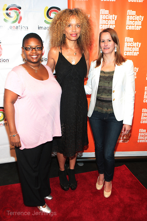 25 August New York, NY- l to r: Moikgansti Kgama, Founder, Imagenation Cinema Foundation, Victoria Mahoney, Director and Isa Cucinotta, Film Society of Lincoln Center at the ImageNation Cinema Foundation Screening of '  Yelling to the Sky ' presented by the ImageNation Cinema Foundation and The Film Society of Lincoln Center held at the Walter Reade Theater at Lincoln Center on August 25, 2011 in New York, NY. Photo Credit: Terrence Jennings