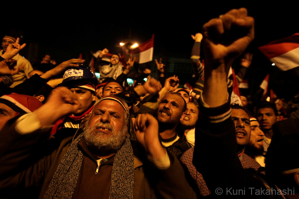 Anti-government protesters show their anger at Tahrir in Cairo Egypt on Feb 10, 2011 after President Hosni Mubarak announced that he is not stepping down. .Photo by Kuni Takahashi