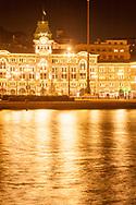 Piazza Unita' d' Italia, lit up at night, Trieste, Italy