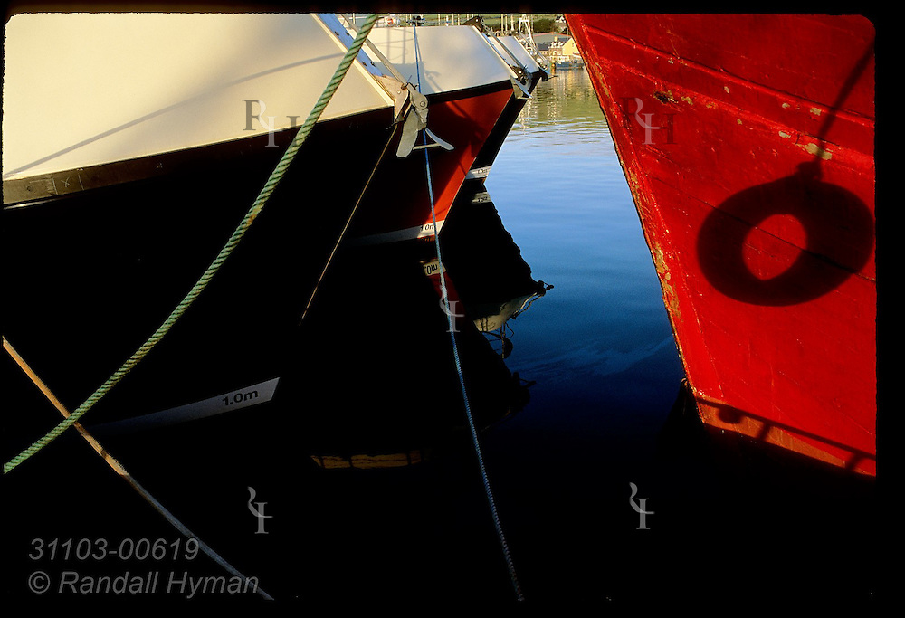 Bows of fishing boats reflect in calm harbor waters of Dingle, Ireland.