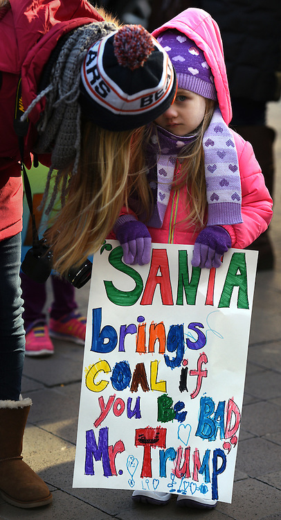 December 10, 2016 - Washington, District of Columbia, U.S. - Children's Rally for Kindness takes place at Trump International Hotel, organized by the Takoma Parents Action Coalition.  According to their FaceBook page, it was a call to President-elect Trump: 'to remember these lessons as he prepares to take office and implement policies that will affect the lives of children and families across our diverse nation.'. (Credit Image: © Carol Guzy via ZUMA Wire)