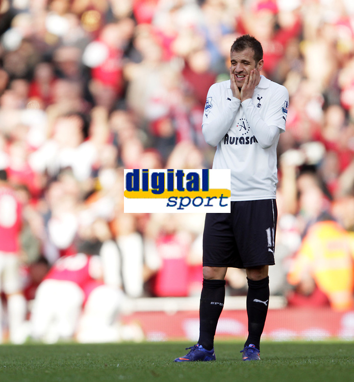 20120226: LONDON, UK - Barclays Premier League 2011/2012: Arsenal vs Tottenham.<br /> In photo: Tottenhams Rafael Van Der Vaart looks on dejected after Arsenals fourth goal.<br /> PHOTO: CITYFILES