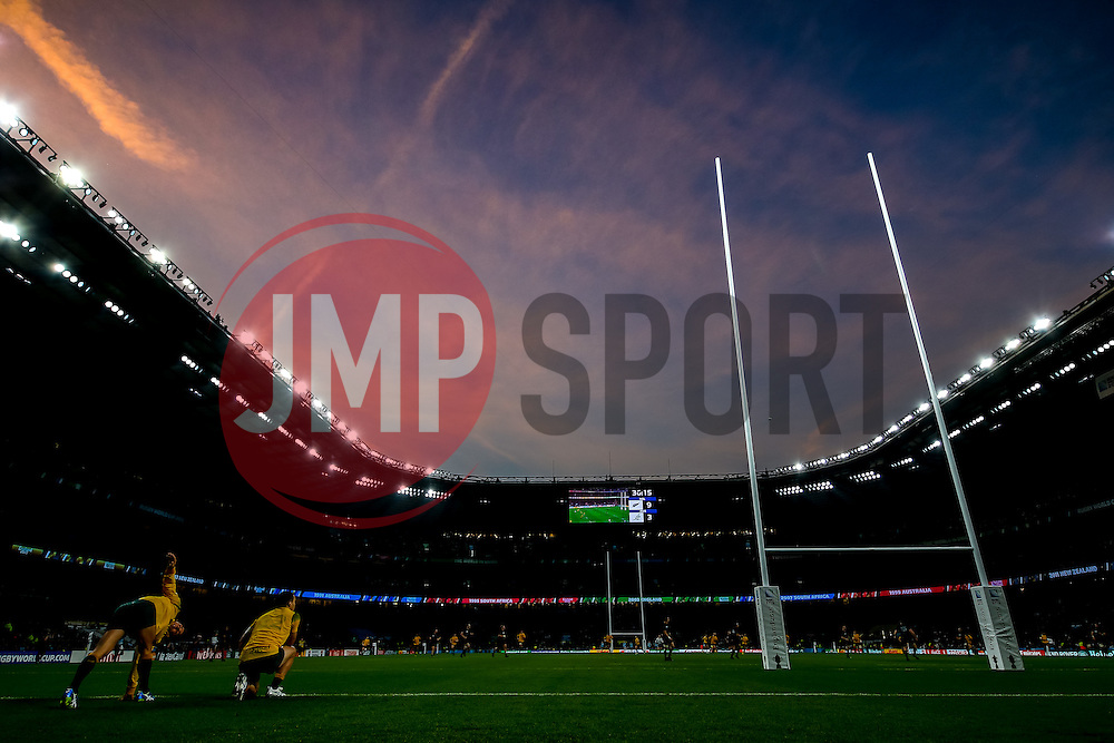 Colourful skies over the ground as the sun comes down on the match - Mandatory byline: Rogan Thomson/JMP - 07966 386802 - 31/10/2015 - RUGBY UNION - Twickenham Stadium - London, England - New Zealand v Australia - Rugby World Cup 2015 FINAL.