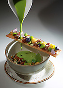 Boston, MA 070114  Dining Out review of Liquid Art House in Back Bay.  A sweet pea velout dish photographed on July 1, 2014.  (Essdras M Suarez/ Globe Staff)