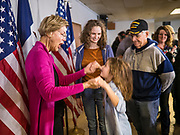 16 DECEMBER 2019 - KEOKUK, IOWA: US Senator ELIZABETH WARREN (D-MA) talks to a girl who was excited to meet her during a campaign event in Keokuk, IA, Monday. About 100 people attended the town hall. Warren is campaigning in southeastern Iowa this weekend to support her effort to be the Democratic nominee for the US presidential race in 2020. This was Warren's 185th town hall, and 88th event in Iowa. Iowa traditionally hosts the first presidential selection event of the campaign season. The Iowa caucuses are Feb. 3, 2020.       PHOTO BY JACK KURTZ