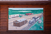 A mural painted on the old Railroad Depot, now a museum, in the Northwoods village of Boulder Junction, Wisconsin.