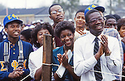 College supporters welcome Reverend Jesse Jackson as he campaigns across the south in his 1984 bid to be the first African American president of the United States.