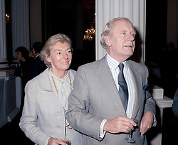 The Late Attorney General MICHAEL HAVERS and LADY HAVERS at a reception in London in November 1985.