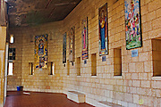 Israel, Lower Galilee, Nazareth. Interior of the Basilica of the Annunciation. Display of religious art work