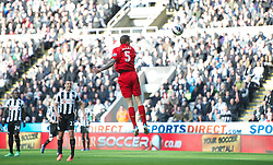 27.04.2013, St. James Park, Newcastle, ENG, Premier League, Newcastle United vs FC Liverpool, 35. Runde, im Bild Liverpool's Daniel Agger scores the first goal against Newcastle United during the English Premier League 35th round match between Newcastle United and Liverpool FC at the St. James Park, Newcastle, Great Britain on 2013/04/27. EXPA Pictures © 2013, PhotoCredit: EXPA/ Propagandaphoto/ David Rawcliffe..***** ATTENTION - OUT OF ENG, GBR, UK *****