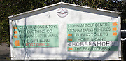 Signs for retail and leisure activities at Stonham Barns, Suffolk, England