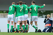 Republic of Ireland players celebrate after scoring during the UEFA European Under 17 Championship 2018 match between Bosnia and Republic of Ireland at Stadion Bilino Polje, Zenica, Bosnia and Herzegovina on 11 May 2018. Picture by Mick Haynes.
