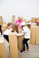 Repro Free: The People Build. In preparation for the spectacular architectural event devised by french artist Olivier Grossetete , The people of Galway are preparing 4,000  cardboard  boxes for a new structure built by the people (Saturday) and demolished by the   people on Sunday.<br />  <br />  .  Photo:Andrew Downes, xposure