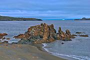 Rocky shorelione on the Bonavista Peninsula at dusk. Atlantic Ocean.<br />Bonavista<br />Newfoundland & Labrador<br />Canada