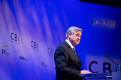 © London News Pictures. 04/11/2013 . London, UK.  The Confederation of British Industry (CBI) President SIR MICHAEL RAKE, delivers a speech at the 2013 Confederation of British Industry (CBI) Conference, held at the Hilton Metropole in London. Photo credit : Ben Cawthra/LNP