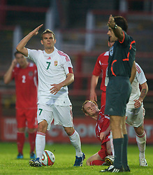 Wrexham, Wales - Wednesday, August 12th, 2009: Hungary's Vladimir Koman complains to referee Christos Elia during the UEFA Under 21 Championship Qualifying Group 3 match at the Racecourse Ground. (Photo by Chris Brunskill/Propaganda)