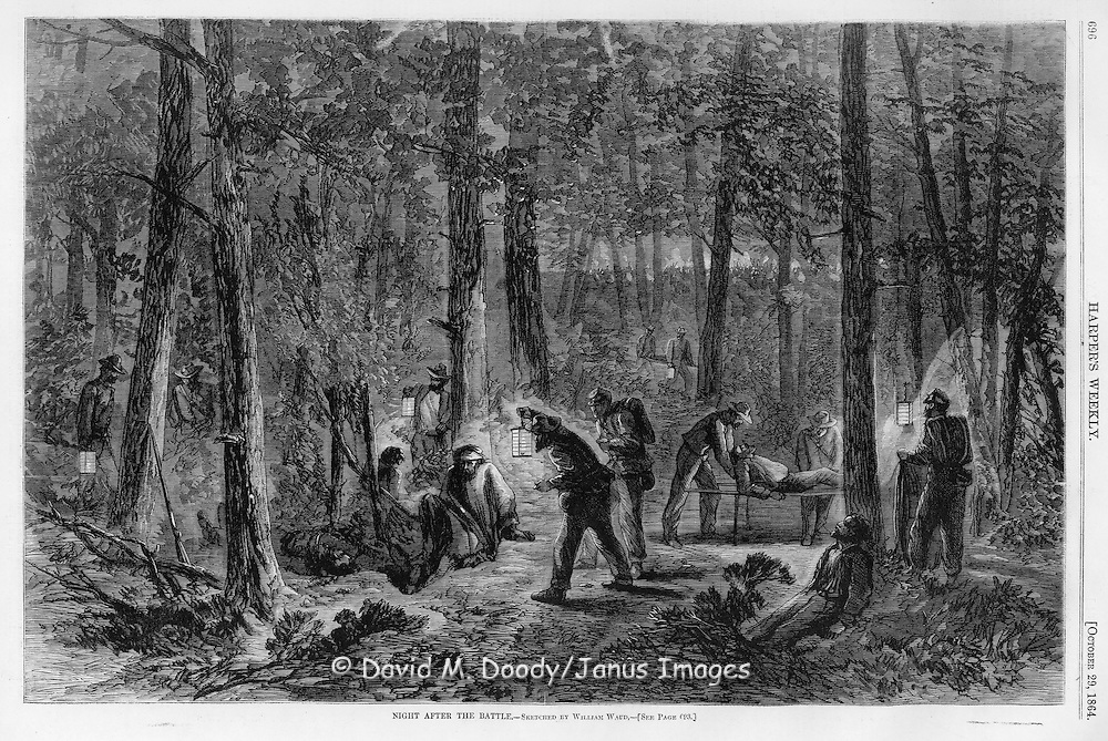 Civil War: October 29, 1864 Harper's Weekly The night after the battle. Tending to the dead and wounded by lantern light. TEXT FROM HARPER'S: The sketch on page 696 represents the scenes attending a NIGHT AFTER A BATTLE. The night is usually spent in bringing in the dead and wounded. Sometimes this is not possible, and the sufferings of the wounded are in such cases pitiable, ending not unfrequently in death.